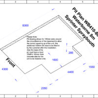 Hurricane WB410-8000 8m Waterborne Sprinter Spray Booth Pit Plan