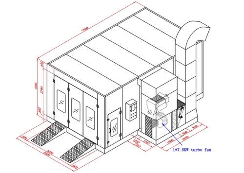 GS100 Hurricane 7m Basic Spray Booth Dimensions