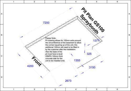 GS100 Hurricane 7m Basic Spray Booth Pit Plan